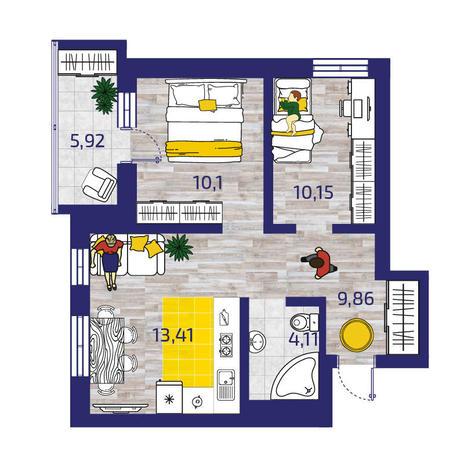 Вариант №3780, 3-комнатная квартира в жилом комплексе Акварельный 3.0