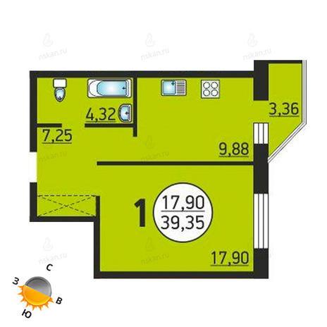 Вариант №1372, 1-комнатная квартира в жилом комплексе Семьи Шамшиных 55