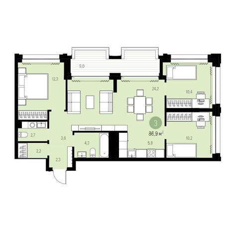 Вариант №5441, 4-комнатная квартира в жилом комплексе