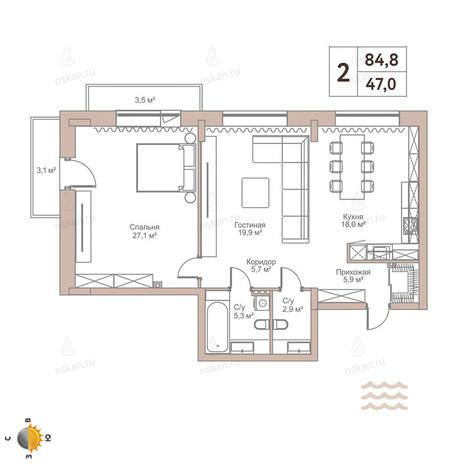 Вариант №2442, 2-комнатная квартира в жилом комплексе