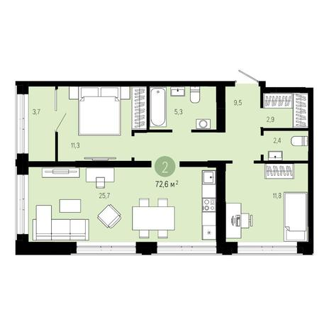 Вариант №4843, 3-комнатная квартира в жилом комплексе