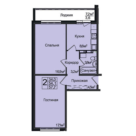 Вариант №3102, 2-комнатная квартира в жилом комплексе