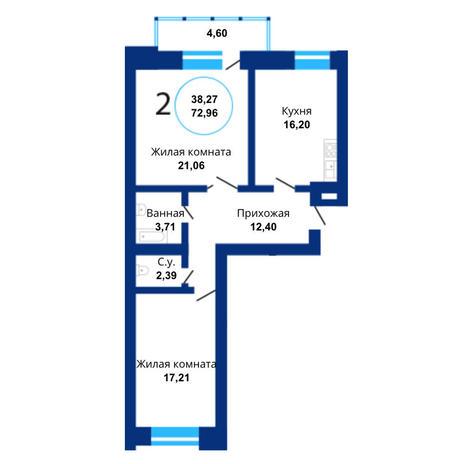 Вариант №3814, 2-комнатная квартира в жилом комплексе