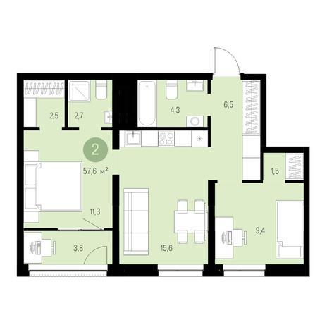 Вариант №4687, 3-комнатная квартира в жилом комплексе
