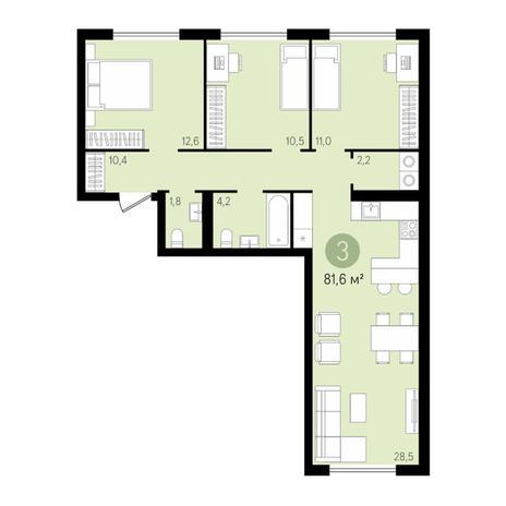 Вариант №3436, 4-комнатная квартира в жилом комплексе Европейский Берег