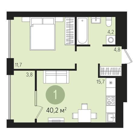 Вариант №3001, 2-комнатная квартира в жилом комплексе