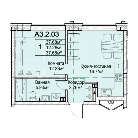 Вариант №5477, 2-комнатная квартира в жилом комплексе