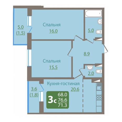 Вариант №3042, 3-комнатная квартира в жилом комплексе