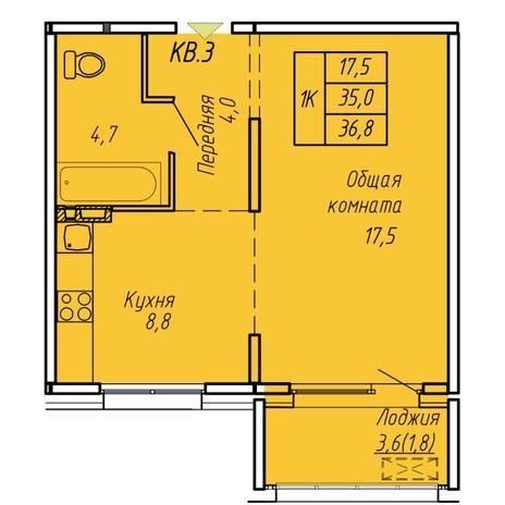 Вариант №6075, 1-комнатная квартира в жилом комплексе