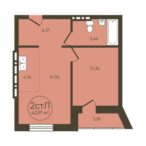 Вариант №3614, 2-комнатная квартира в жилом комплексе История