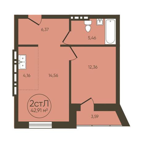 Вариант №3614, 2-комнатная квартира в жилом комплексе