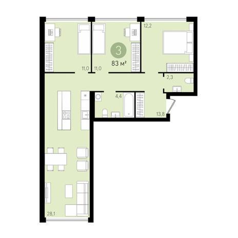 Вариант №2997, 4-комнатная квартира в жилом комплексе
