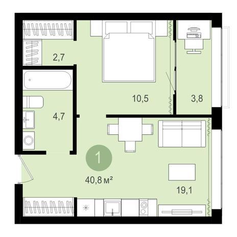 Вариант №4282, 2-комнатная квартира в жилом комплексе Венеция