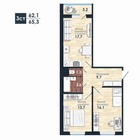 Вариант №5235, 3-комнатная квартира в жилом комплексе