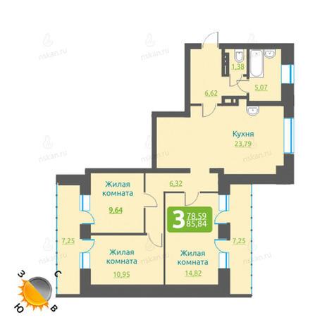 Вариант №1197, 4-комнатная квартира в жилом комплексе Марсель