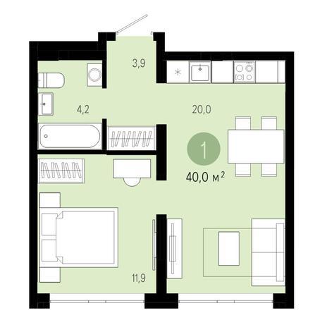 Вариант №4601, 2-комнатная квартира в жилом комплексе Акварельный 3.0