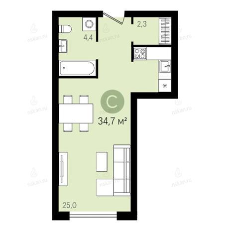Вариант №2648, 1-комнатная квартира в жилом комплексе Квартал на Никитина