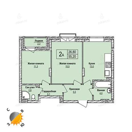 Вариант №1241, 2-комнатная квартира в жилом комплексе