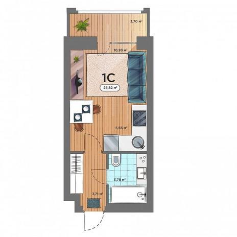 Вариант №5163, 1-комнатная квартира в жилом комплексе