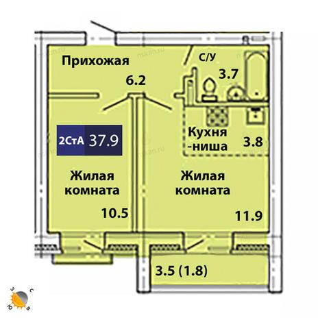 Вариант №1834, 2-комнатная квартира в жилом комплексе Свобода
