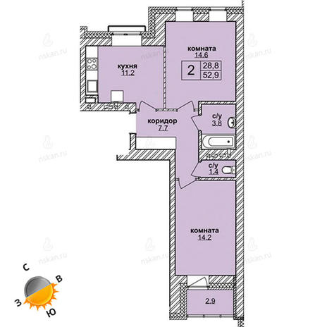 Вариант №1596, 2-комнатная квартира в жилом комплексе