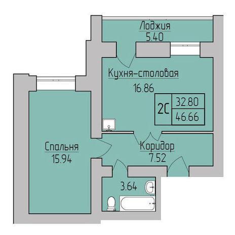 Вариант №3835, 2-комнатная квартира в жилом комплексе