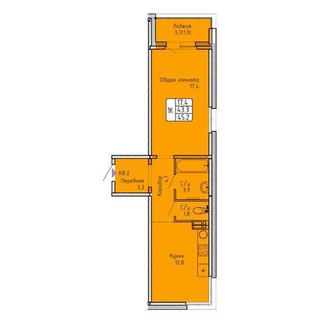 Вариант №5760, 1-комнатная квартира в жилом комплексе