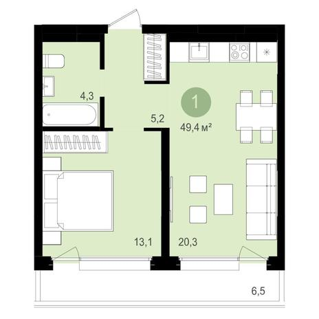 Вариант №4341, 2-комнатная квартира в жилом комплексе