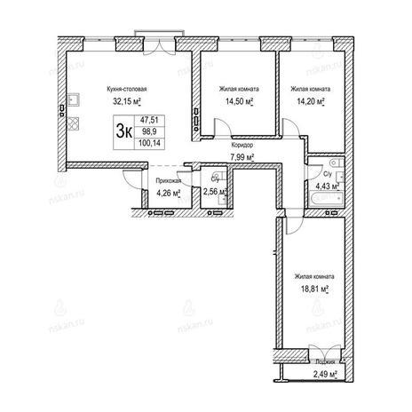 Вариант №1050, 3-комнатная квартира в жилом комплексе Потанинская 2