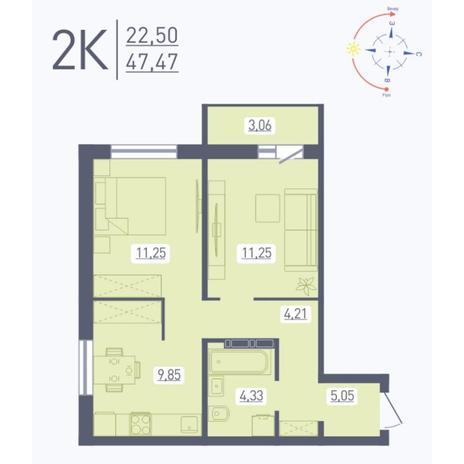 Вариант №5584, 2-комнатная квартира в жилом комплексе