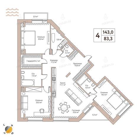 Вариант №2432, 4-комнатная квартира в жилом комплексе Flora & Fauna