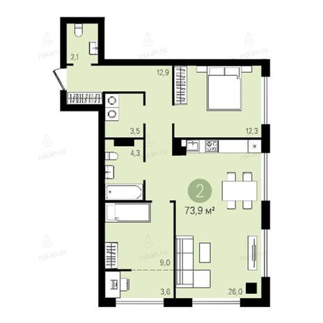 Вариант №2628, 3-комнатная квартира в жилом комплексе Квартал на Никитина