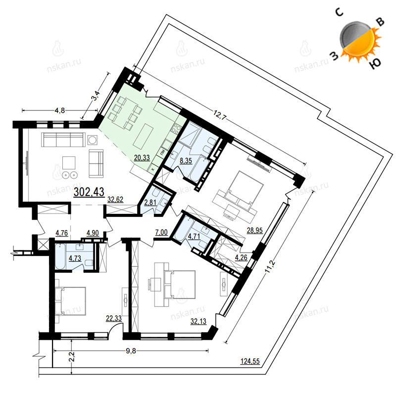 Планировка 4-комн. студия площадью 302.43 м<sup>2</sup> в ЖК Жуковка