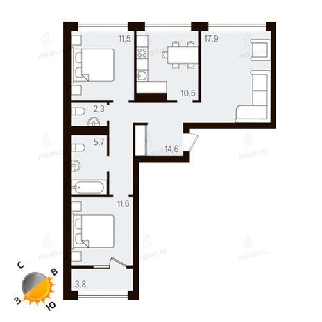 Вариант №1134, 3-комнатная квартира в жилом комплексе Европейский Берег