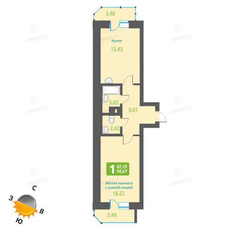 Вариант №1219, 2-комнатная квартира в жилом комплексе Марсель