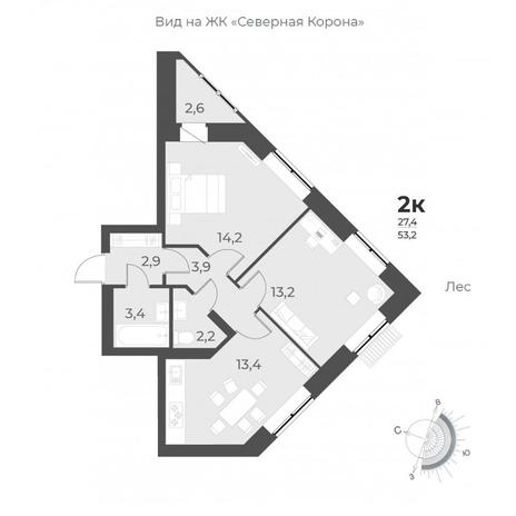 Вариант №6291, 2-комнатная квартира в жилом комплексе