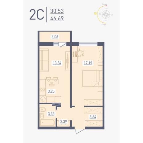 Вариант №4864, 2-комнатная квартира в жилом комплексе Радуга Сибири