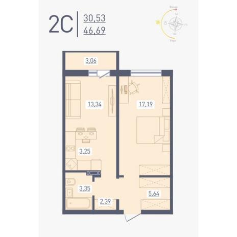 Вариант №4864, 2-комнатная квартира в жилом комплексе Аквамарин
