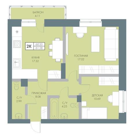 Вариант №4232, 2-комнатная квартира в жилом комплексе Ясный берег