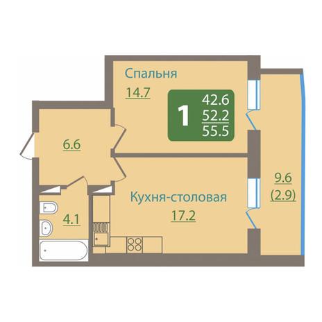 Вариант №3045, 2-комнатная квартира в жилом комплексе