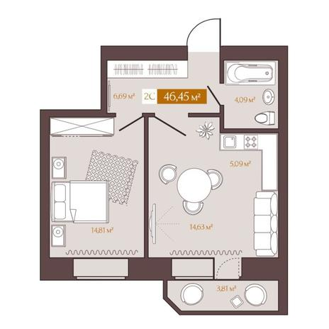 Вариант №5618, 2-комнатная квартира в жилом комплексе