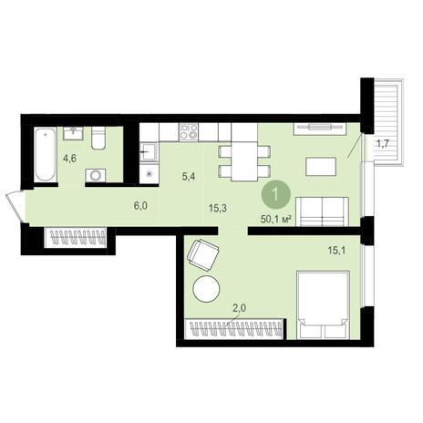 Вариант №4347, 2-комнатная квартира в жилом комплексе Чистая Слобода