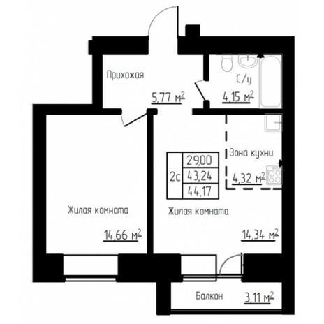 Вариант №4522, 2-комнатная квартира в жилом комплексе