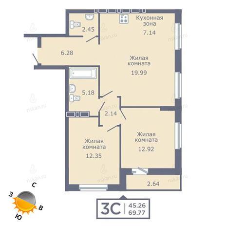 Вариант №1345, 3-комнатная квартира в жилом комплексе