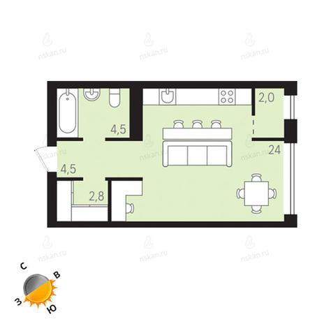 Вариант №1296, 1-комнатная квартира в жилом комплексе