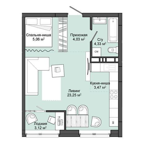 Вариант №3052, 1-комнатная квартира в жилом комплексе