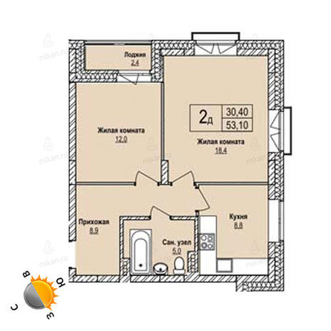 Вариант №1236, 2-комнатная квартира в жилом комплексе Эволюция