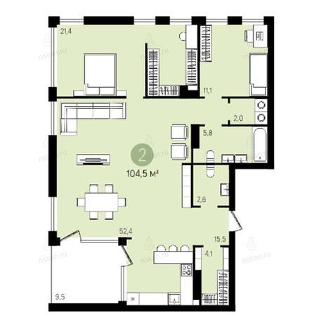 Вариант №2603, 3-комнатная квартира в жилом комплексе Квартал на Никитина