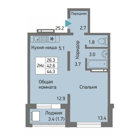 Вариант №4515, 2-комнатная квартира в жилом комплексе Акварельный 3.0