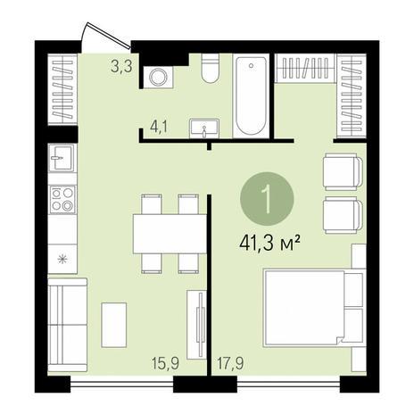 Вариант №3437, 2-комнатная квартира в жилом комплексе